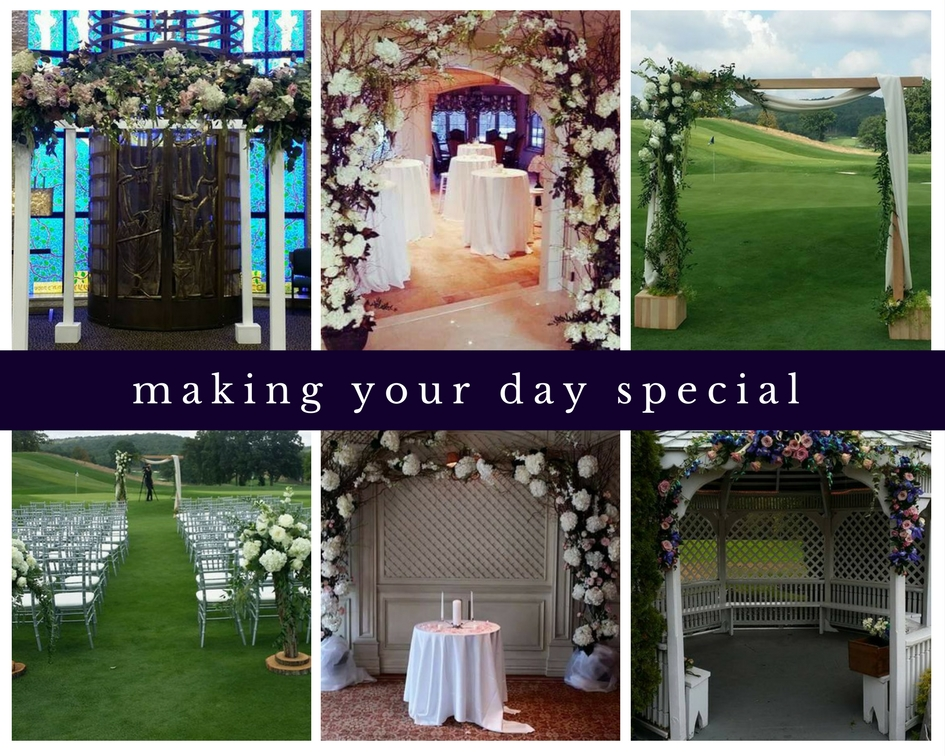 Collage of wedding ceremony flowers